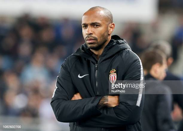 Monaco's French coach Thierry Henry looks on the French L1 football match between Strasbourg and Monaco at the Meinau stadium in Strasbourg eastern...