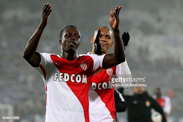 Monaco's French defender Benjamin Mendy celebrates at the end of the French L1 football match Bordeaux vs Monaco on December 10 2013 at the Matmut...