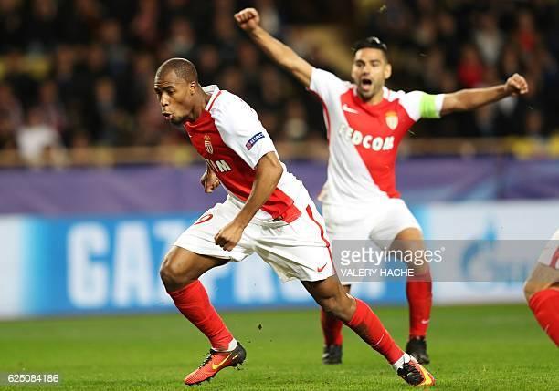 Monaco's French defender Djibril Sidibe celebrates after scoring during the UEFA Champions League group E football match AS Monaco and Tottenham...