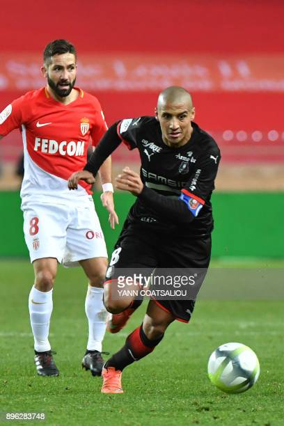 Monaco's French defender Djibril Sidibe drives the ball during the french L1 football match Monaco vs Stade Rennais FC on December 202017 at the...