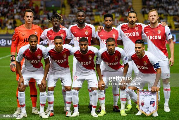 Monaco's French defender Djibril Sidibe Monaco's Belgian midfielder Youri Tielemans Monaco's French midfielder Samuel Grandsir Monaco's German...