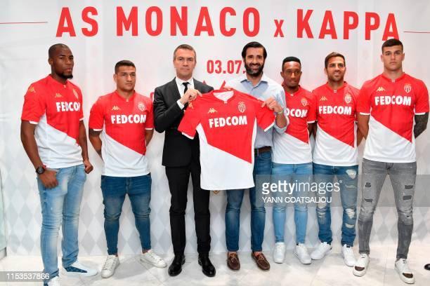 Monaco's French defender Djibril Sidibe, Monaco's Brazilian midfielder Rony Lopez, Monaco's CEO Oleg Petrov, Vice President Sales Basic Net / Kappa...
