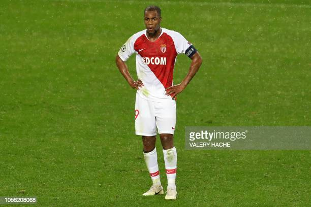 Monaco's French defender Djibril Sidibe reacts after being defeated 4-0 by Brugge at the end of the UEFA Champions League Group A football match...