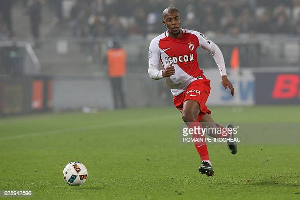 Monaco's French defender Djibril Sidibe runs after the ball during the French L1 football match Bordeaux vs Monaco on December 10 2013 at the Matmut...