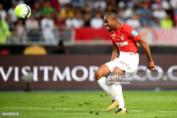 Monaco's French defender Djibril Sidibe shoots the ball scores a goal during the French Trophy of Champions football match between Monaco and Paris...