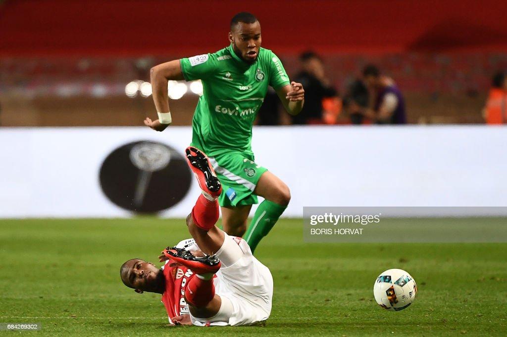 Monaco's French defender Djibril Sidibe vies with Saint-Etienne's ...