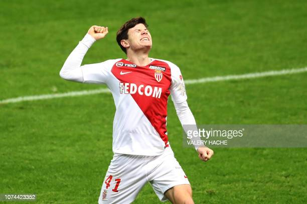 Monaco's French defender Giulian Biancone celebrates after scoring a goal during the French League Cup round of 16 football match between Monaco and...