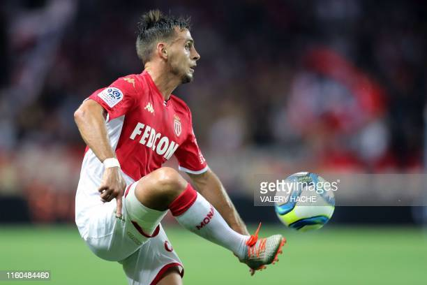 Monaco's French defender Ruben Aguilar controls the ball during the French L1 football match between AS Monaco and Olympique Lyonnais at the Stade...