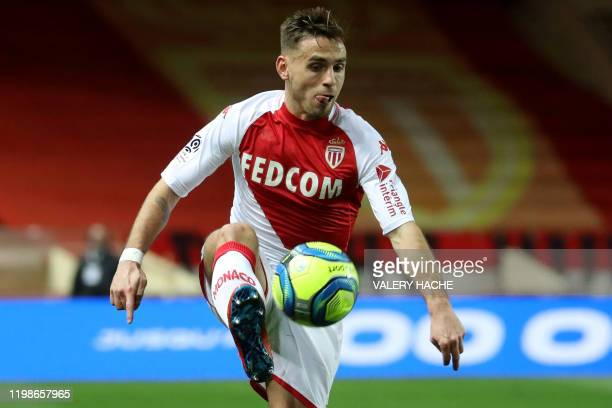 "Monaco's French defender Ruben Aguilar controls the ball during the French L1 football match Monaco vs Angers on February 4 at the ""Louis II Stadium""..."