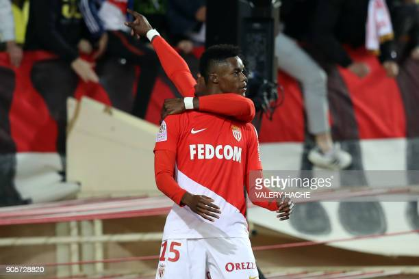 Monaco's French forward Adama Diakhaby celebrates after scoring a goal during the French L1 football match Monaco vs Nice on January 16 2018 at the...