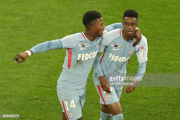 Monaco's French forward Adama Diakhaby celebrates after scoring during the French Cup football match between Nice and Monaco at The 'Allianz Riviera'...