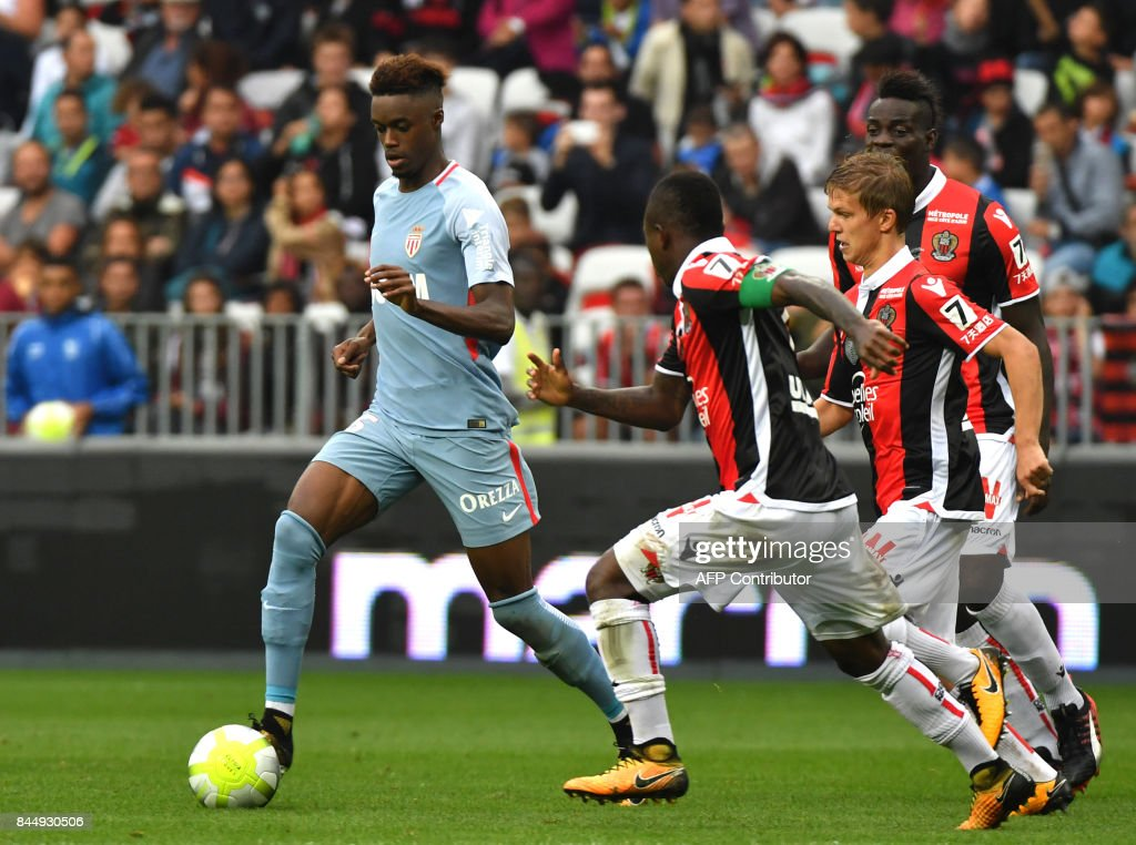 Monaco's French forward Adama Diakhaby controls the ball during the French L1 football match Nice (OGCN) vs Monaco (ASM) on September 9, 2017 at the 'Allianz Riviera' stadium in Nice, southeastern France. /