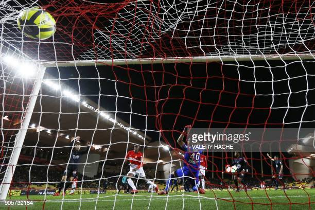 Monaco's French forward Adama Diakhaby scores a goal during the French L1 football match Monaco vs Nice on January 16 2018 at the Louis II stadium in...