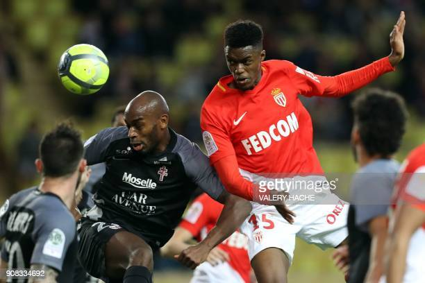 Monaco's French forward Adama Diakhaby vies with Metz' French defender Jonathan Rivierez during the French L1 football match Monaco versus Metz on...