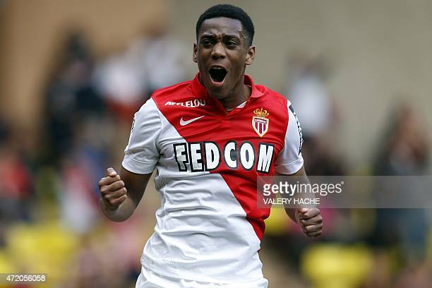 Monaco's French forward Anthony Martial celebrates after scoring a penalty during the French L1 football match between Monaco and Toulouse on May 3,...