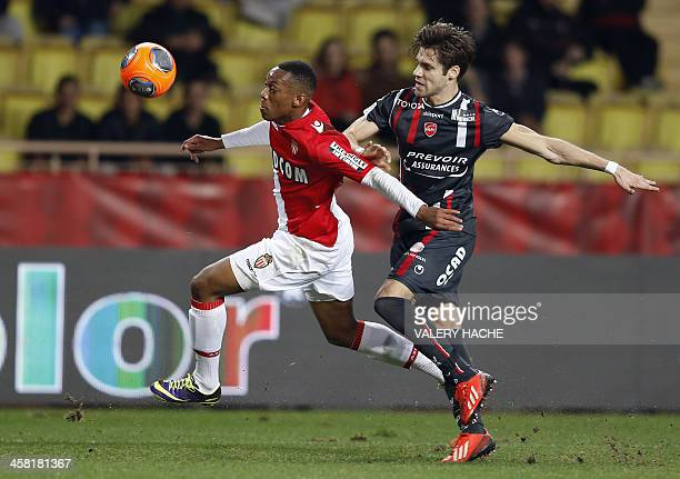 Monaco's French forward Anthony Martial challenges Valenciennes' Urugayan defender Gary Kagelmacher during the French L1 football match between...