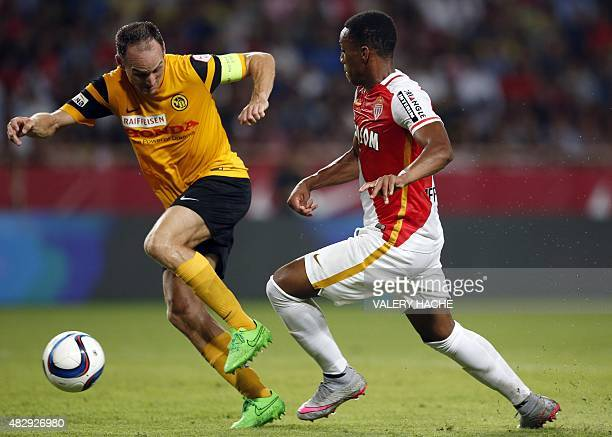 Monaco's French forward Anthony Martial vies with Young Boys' Swiss defender Steve von Bergen during the UEFA Champions League third qualifying round...