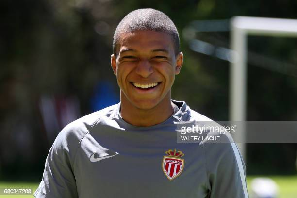 Monaco's French forward Kylian Mbappe Lottin attends a training session on May 8 2017 in La Turbie near Monaco on the eve of the UEFA Champions...
