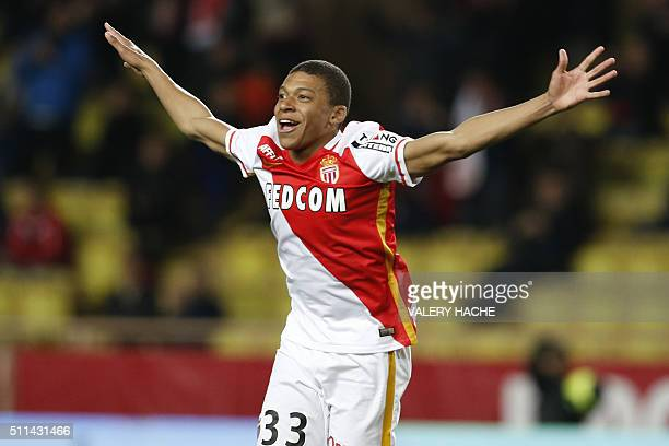 Monaco's French forward Kylian Mbappe Lottin celebrates after scoring a goal during the French L1 football match Monaco vs Troyes on February 20,...