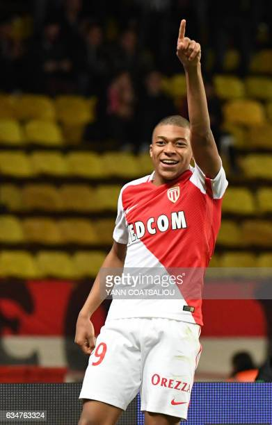Monaco's French forward Kylian Mbappe Lottin celebrates after scoring a goal during the French Ligue 1 football match between AS Monaco and Metz at...