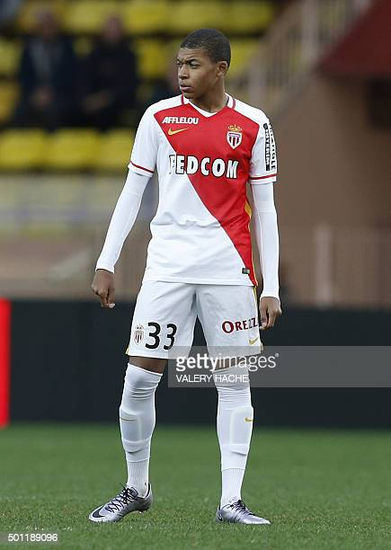 Monaco's French forward Kylian Mbappe Lottin during the French L1 football match Monaco vs Saint Etienne on december 13 2015 at the Louis II Stadium...