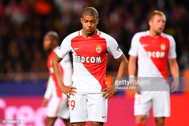 Monaco's French forward Kylian Mbappe reacts during the UEFA Champions League semifinal first leg football match Monaco vs Juventus at the Stade...
