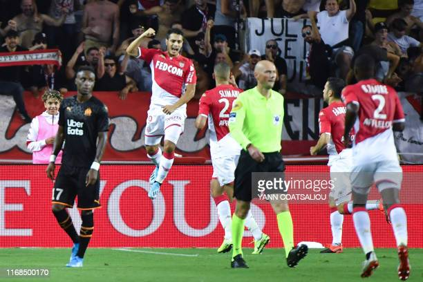 Monaco's French forward Wissam Ben Yedder celebrates after scoring a penalty kick during the French L1 football match AS Monaco vs OM Marseille on...