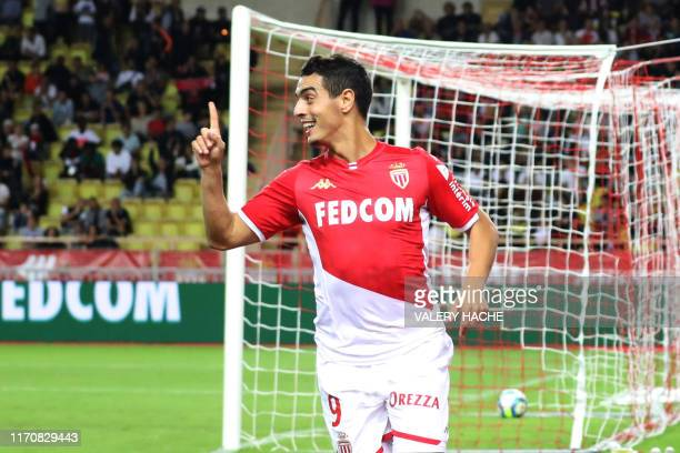 Monaco's French forward Wissam Ben Yedder celebrates after scoring a goal during the French L1 football match between AS Monaco and OGC Nice at the...