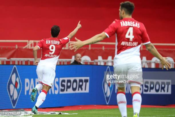 Monaco's French forward Wissam Ben Yedder celebrates after scoring a goal during the French L1 football match Monaco vs Rennes on October 20, 2019 at...