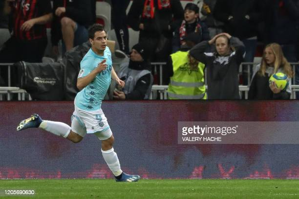 Monaco's French forward Wissam Ben Yedder celebrates after scoring a goal during the French L1 football match Nice against Monaco on March 7 2020 at...