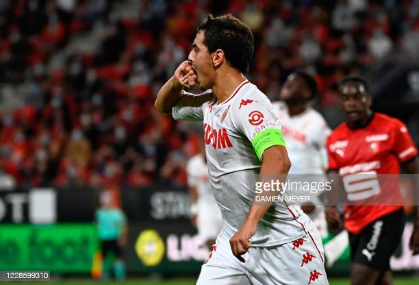 Monacos French forward Wissam Ben Yedder celebrates after scoring a goal during the French L1 football match between Stade Rennais and Monaco at the...