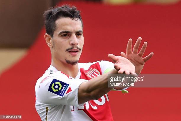 Monaco's French forward Wissam Ben Yedder celebrates after scoring a goal during the French L1 football match between AS Monaco and FC Metz at the...