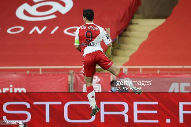 """Monaco's French forward Wissam Ben Yedder celebrates after scoring during the French L1 football match between AS Monaco and OGC Nice at the """"Louis..."""