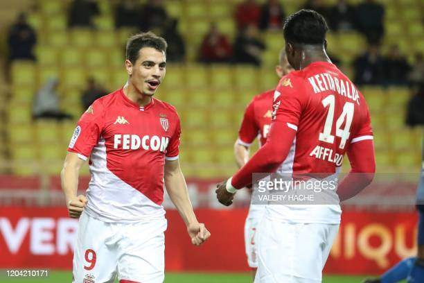 Monaco's French forward Wissam Ben Yedder celebrates with Monaco's forward Keita Balde after scoring a penalty during the French L1 football match...
