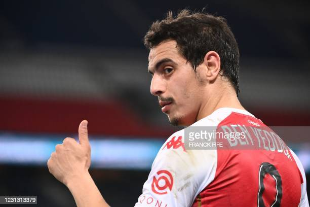 Monaco's French forward Wissam Ben Yedder gestures during the French L1 football match between Paris-Saint Germain and AS Monaco FC at The Parc des...