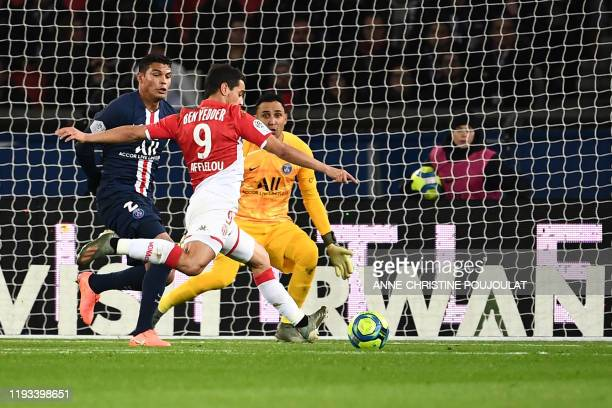 Monaco's French forward Wissam Ben Yedder kicks to score during the French L1 football match between Paris Saint-Germain and AS Monaco at the Parc...