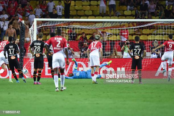 Monaco's French forward Wissam Ben Yedder scores a penalty kick during the French L1 football match AS Monaco vs OM Marseille on September 15 2019 at...