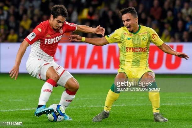 Monaco's French forward Wissam Ben Yedder shoots and scores a goal during the French L1 football match between FC Nantes and AS Monaco at the La...