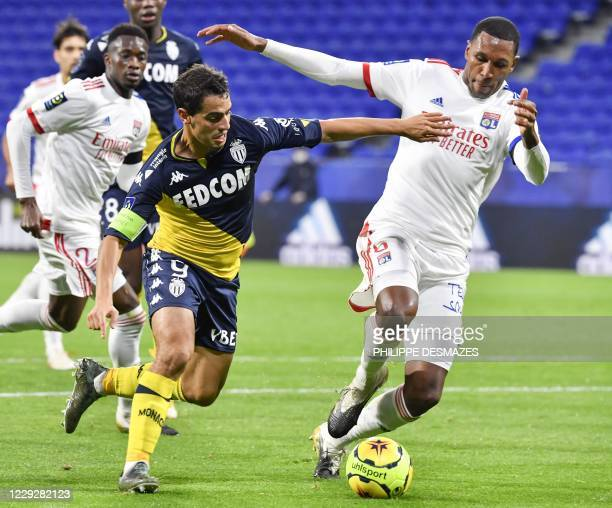 Monaco's French forward Wissam Ben Yedder vies with Lyon's Brazilian defender Marcelo during the French L1 football match between Olympique Lyonnais...