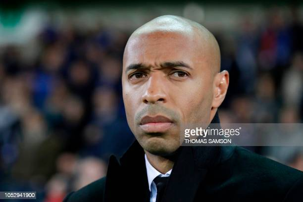 Monaco's French head coach Thierry Henry looks on ahead of the UEFA Champions League Group A football match between Club Brugge KV and AS Monaco FC...