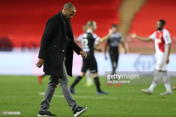 Monaco's French head coach Thierry Henry reacts at the end of the French L1 football match Monaco vs Guingamp on December 22 2018 at the Louis II...