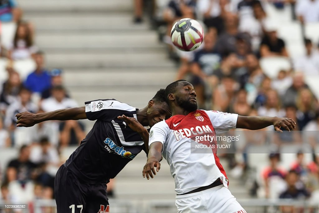 Monaco's French midfielder Jean-Eudes Aholou vies with Bordeaux's ...