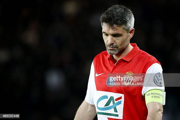 Monaco's French midfielder Jeremy Toulalan reacts during the French Cup football match between Paris SaintGermain and Monaco at the Parc des Princes...