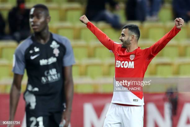Monaco's French midfielder Rachid Ghezzal celebrates after scoring a goal during the French L1 football match Monaco versus Metz on January 21 2018...