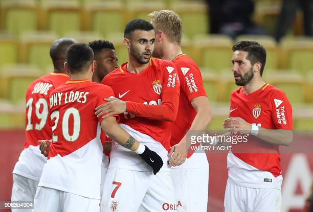 Monaco's French midfielder Rachid Ghezzal celebrates with teammates after scoring a goal during the French L1 football match Monaco versus Metz on...