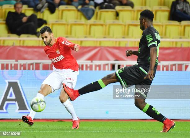 Monaco's French midfielder Rachid Ghezzal kicks the ball during the French L1 football match Monaco versus Guingamp on November 4 2017 at The Louis...