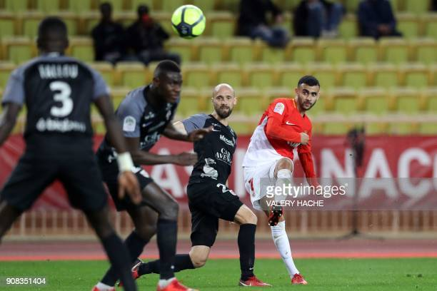 Monaco's French midfielder Rachid Ghezzal shoots to score a goal during the French L1 football match Monaco versus Metz on January 21 2018 at the...