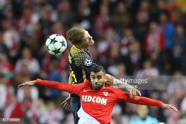 Monaco's French midfielder Rachid Ghezzal vies for the ball with Leipzig's German defender Marcel Halstenberg during the UEFA Champions League group...