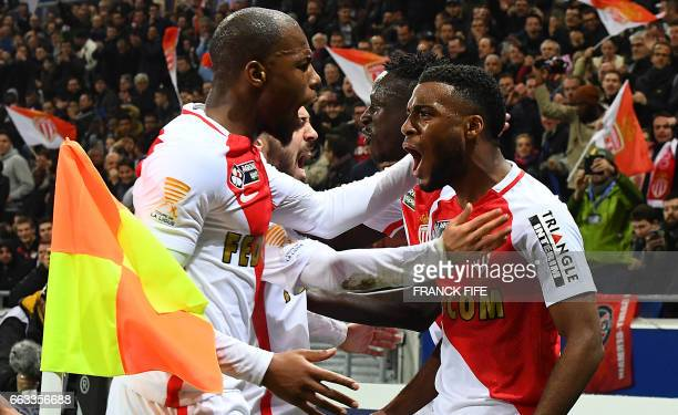 Monaco's French midfielder Thomas Lemar celebrate with teammates after scoring a goal during the French League Cup final football match between Paris...
