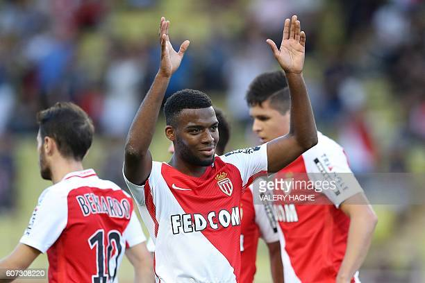 Monaco's French midfielder Thomas Lemar celebrates after scoring during the French L1 football match Monaco vs Rennes on September 17 2016 at the...